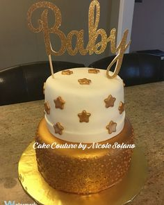 Twinkle twinkle little star baby shower cake with gold sequins and gold stars!