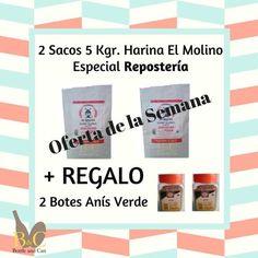 #OFERTA de la Semana !! 2 Sacos 5 Kgr. #Harina Repostería+ #REGALO 2 Botes Anís verde http://tienda.bottleandcan.es/es/   La OFERTA comprende 2 Sacos 5 kgr. cada uno Harina de Trigo Blando CANDEAL Especial para REPOSTERÍA. HARINAS EL MOLINO DE FERRER + REGALO 2 Botes 130 Gr. Anís Verde. Envase de plástico PET. Válida hasta el Domingo 15/01/2017 o hasta Fin de Existencias.  #tiendaonline #gourmet #bottleandcan #granada #andalucía #españa #spain #regalos #regalosoriginales #ofertas #harinas