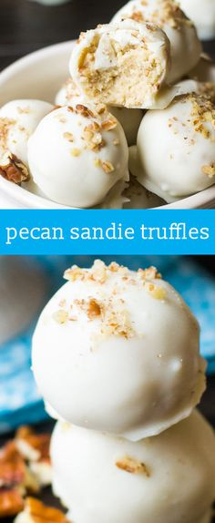 Pecan Sandie Truffles {Easy No Bake Cookie Truffle Recipe with White Chocolate} … Pecan Sandie Truffles {Easy No Bake Cookie Truffle Recipe with White Chocolate} homemade candy recipe / chocolate dipped truffles via /tastesoflizzyt/ Truffles Easy No Bake, Easy No Bake Cookies, Cake Truffles, Cupcakes, Köstliche Desserts, Delicious Desserts, Dessert Recipes, Cake Recipes, Baking Recipes