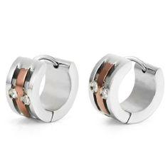Cubic Zirconia Mens Hoop Huggie Earrings CZ Silver Bronze by RnB Jewelry Stainless Steel Earrings, 316l Stainless Steel, Ring Ring, Black Earrings, Hoop Earrings, Treatment For Tinnitus, Bronze, Color Negra, Bracelets For Men