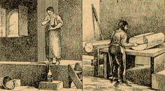 Les Métiers de nos Ancêtres. , Artisan fabricant toutes sortes d'objets de verrerie : verres, bouteilles, glaces, etc..