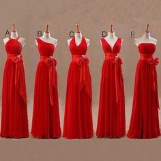 Mismatched Junior Chiffon Red Long A Line Formal Cheap Maxi Bridesmaid Dresses with Bow, WG63