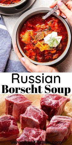 Beet Borscht, Beet Soup, Russian Cabbage Soup Recipe, Ukrainian Recipes, Russian Recipes, Ukrainian Food, Beef Recipes, Cooking Recipes, Russia