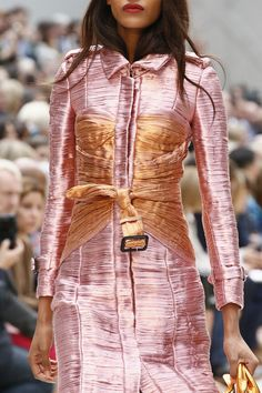 I like the corset-ry detail of this Burberry coat. #LFW