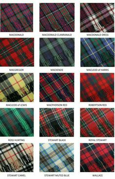 Clan Tartans: MacDonald to Wallace. Seeing as I am a MacDonald, it'd be fun to figure out which I am and to get a kilt in my tartan. Motif Tartan, Tartan Plaid, Tartan Decor, Scottish Tartans, Scottish Gaelic, Scottish Plaid, Scottish Kilts, Scottish Highlands, Men In Kilts