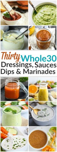 Whether it's dipping, dunking or drizzling you're after - we've got it all here with these 30 Whole30 Dressings, Sauces & Marinades | http://therealfoodrds.com/30-whole30-dressings-sauces-marinades/