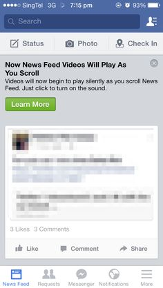 Notification of a new feature. Facebook - Auto play on videos.