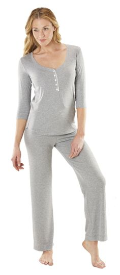 Softies Heather Grey 3/4 Sleeve Ankle PJ