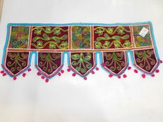 Indian Vintage Floral Embroidery Toran Topper Door Valance Wall Hanging DX70 #Handmade