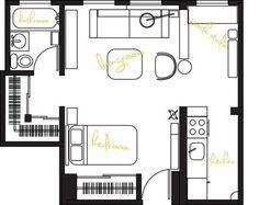 Leslie's Enchanting Sunlight Studio Apt, Studio Living, Studio Floor Plans, House Floor Plans, Garage Apartments, Small Apartments, Studio Apartments, Apartment Plans, Apartment Ideas