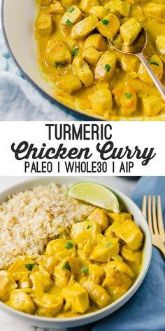 This turmeric chicken curry is flavorful filling and packed with anti-inflammatory ingredients! It's paleo and AIP compliant. This turmeric chicken curry is flavorful filling and packed with anti-inflammatory ingredients! It's paleo and AIP compliant. Whole Foods, Paleo Whole 30, Whole Food Recipes, Diet Recipes, Cooking Recipes, Healthy Recipes, Curry Recipes, Healthy Dishes, Paleo Recipes Simple