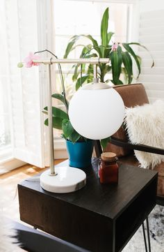 brass bubble table lamp with marble bass