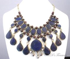 Large BIB Afghan Tribal Ethnic Genuine Blue LAPIS LAZULI Stone Necklace #Bib