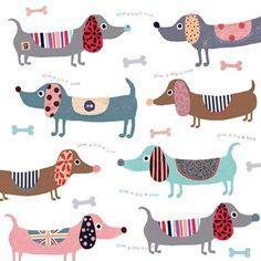 Colorful Dachshund Repeat Pattern Pillow Cover by UniikStuff Dog Illustration, Illustrations, Dachshund Art, Daschund, Dapple Dachshund, Dachshund Puppies, Chihuahua Dogs, Dog Quilts, Weenie Dogs