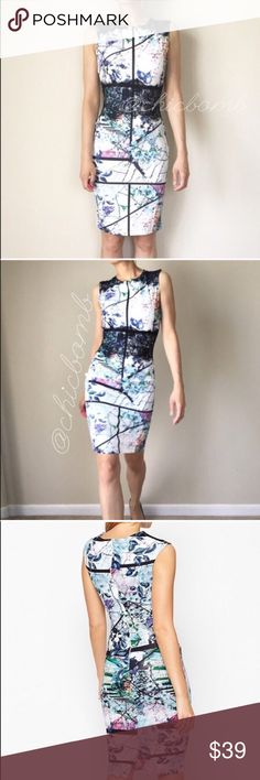 """Bodycon printed with lace dress. Beautiful lace printed pastel color splash. Modern romance casual date and for work. With upper back zip . 95%polyester 5%spandex . The dress fits body frame size s and M. Length : 38"""", bust : 27""""-37"""", waist: 25""""-30"""", hips: 33""""-42"""". Size L: length 39"""" bust :29""""-41"""", waist 27-31"""", hips: 35""""-47""""All measurement in inches and and flat lay relax. Preferably hand wash . No bleach . Please iron on low CHICBOMB Dresses Midi"""
