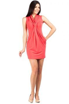 MOE078 Dopasowana sukienka ze splotem - malinowa