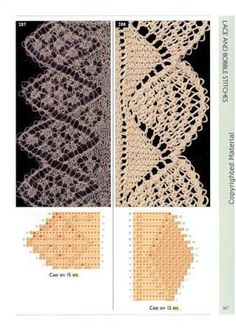 love the lace edging pattern here Lace Knitting Stitches, Lace Knitting Patterns, Knitting Books, Knitting Charts, Lace Patterns, Easy Knitting, Knitting Designs, Stitch Patterns, Knit Edge
