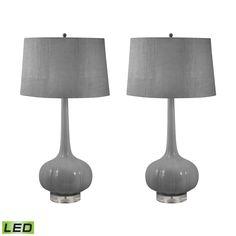 Del Mar Porcelain LED Table Lamps In Grey - Set of 2