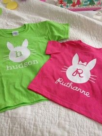 "Easter shirts--see full post for a couple more designs, including ""good egg.""  (That one's fun on a onesie--get it??)"