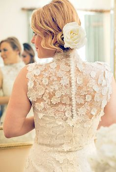 Floral and Lace. Perfect spring wedding dress