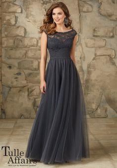 Mori Lee Affairs 111 Bridesmaid Dress Lace Bodice Net Skirt Cap Sleeves - A Line, Natural Waist, Bateau, Sweetheart