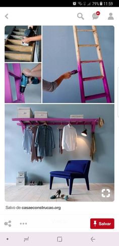 DIY Shelves Easy DIY Floating Shelves for bathroom,bedroom,kitchen,closet DIY bookshelves and Home Decor Ideas Easy Home Decor, Cheap Home Decor, Craft Ideas For The Home, Space Saving Ideas For Home, Easy Diy Room Decor, Home Decoration, Ladder Storage, Diy Ladder, Ladder Shelves