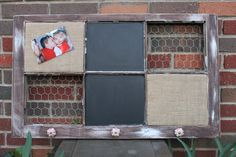 Old Window - Vintage Farm House - Chalkboard - Burlap covered Cork board - Chicken Wire - Distressed Wood Frame - Red and Cream Knobs -. $85.00, via Etsy.