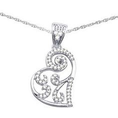 "0.24Ct Round D VVS1 Diamond White Gold Finish Heart Pendant W/ 18"" Chain #Affinityjewelry #HeartPendant"