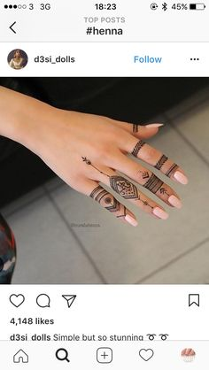 Not 1 - Marwa Marwa - - Henna Mandala - Henna Designs Hand Finger Henna Designs, Henna Designs Easy, Mehndi Designs For Fingers, Mehndi Art Designs, Henna Tattoo Designs, Tribal Henna Designs, Simple Henna Tattoo, Henna Tattoo Hand, Simple Henna Art