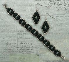Linda's Crafty Inspirations: Bracelet of the Day: Tammy - Jet & Gray