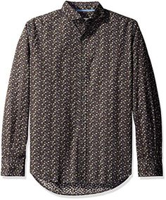James Campbell Men's Caborca Long Sleeve Printed Neat, Brown, X-Large