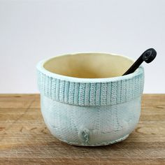 Faux Knit Bowl : texture handbuilt ceramic bowl for ice cream, dip, soup, cereal, in robins egg blue and light gold, in stock ready to ship