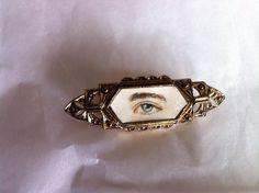 Handpainted Eye Miniature Portrait Brooch Original by adoublegrace, $39.99