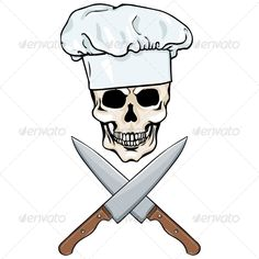 Skull Chef and Crossed Knives #GraphicRiver file types: jpg, eps Created: 5October13 GraphicsFilesIncluded: JPGImage #VectorEPS Layered: No MinimumAdobeCSVersion: CS Tags: braincase #brainpan #cartoon #character #clipart #computergraphic #cranium #crossed #dead #death #design #draw #halloween #icon #illustration #image #isolated #object #paint #person #pirates #sign #silhouette #skeleton #skull #skulltattoo #symbol #tattoo #vector #whitebackground