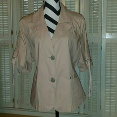 * NWT Cargo Jacket Short sleeved, lightweight cargo jacket.  Strings and eyelets for adjusting.  See matching pants in separate listing.  97% cotton 3% spandex Venezia Jackets & Coats