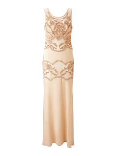 Miss selfridge gold embellished maxi dress