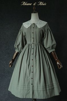 """[Shipping on March Akane & Alois """"Red Hair On"""" Lace Collar Drop Shoulder Sleeve OP Matcha-Taobao Old Fashion Dresses, Old Dresses, Vintage Dresses, Vintage Outfits, Fashion Outfits, Fashion Boots, Pretty Outfits, Pretty Dresses, Beautiful Dresses"""