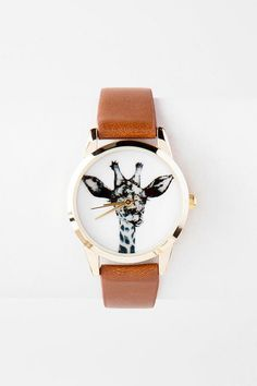 """Add+a+cute+critter+to+your+wrist+with+the+Malawi+Giraffe+Watch.+This+faux+leather+watch+features+a+cute+giraffe+on+the+dial.+<br><br>    -.5""""+band+width<br>  -1.25""""+diameter+(face)+<br>  -Battery+operated<br>  -Twist+crown+to+set<br>  -Imported<br>"""