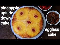 pineapple upside down cake recipe, pineapple cake, upside down pineapple with step by step photo/video. eggless cake with pineapple topped on top of cake Eggless Pineapple Cake, Pinapple Cake, Pineapple Recipes, Pineapple Upside Down Cake, Cake Recipes Step By Step, Custard Cake, Nut Recipes, Chocolate Mug Cakes, No Calorie Foods