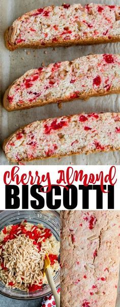 italian cookies An easy recipe for Cherry Almond Biscotti. Sweet maraschino cherries and crunchy almonds liven up this classic Italian cookie. Biscotti means twice baked in Italian, and youll suit for lots of extra crunch! Biscotti Cookies, Almond Cookies, Chocolate Cookies, Cherry Cookies, Biscotti Flavors, Italian Cookie Recipes, Italian Cookies, Baking Recipes, Salads