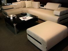love the lines on this sofa and ottoman