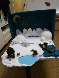 Diorama Proyecto Polo Norte Ecosystems Projects, Science Projects, School Projects, Projects For Kids, Crafts For Kids, Polo Norte, Polar Animals, Animals For Kids, Arctic Habitat