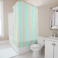 Beach Time Soft Pastel Stripes Shower Curtain - shower gifts diy customize creative