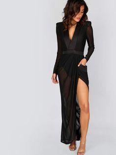 04ddc23c559 Deep V Neck Shoulder Pads Sheer Wrap Dress Sleeve Dresses