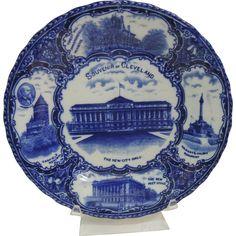 Staffordshire England  Flow Blue Souvenir Plate of Cleveland Ohio