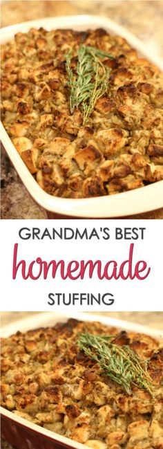 Grandma& Thanksgiving Stuffing is an easy turkey stuffing recipe that is al. - Grandma& Thanksgiving Stuffing is an easy turkey stuffing recipe that is always on our holiday menu. It& definitely one of the best Thanksgiving recipes ever. via Christina Grandma's Stuffing Recipe, Homemade Turkey Stuffing, Classic Stuffing Recipe, Stuffing Recipes For Thanksgiving, Holiday Recipes, Thanksgiving Turkey, Potato Stuffing Recipes, Thanksgiving Appetizers, Best Turkey Stuffing