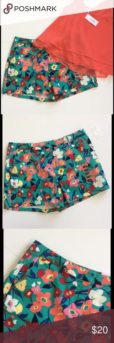 """Floral Shorts NWT These cute shorts feature a red, melon, blue, yellow & ivory floral print on a green background and look amazing with any of those colors as well as as white or black   Belt loops; 2 front & 2back pockets  Soft brushed cotton with some stretch. 98% cotton; 2% spandex. Machine washable  Waist 36""""; hip 42"""". 3.5"""" inseam; 10"""" rise  Hits above mid thigh. Mid waist. Relaxed through hip & thigh  NWT  Pictured top will be listed soon. Bundle discount  Elle Shorts"""