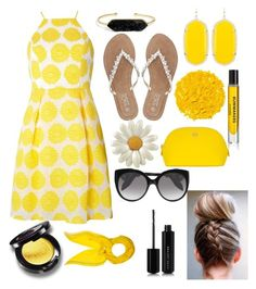 """black + yellow dots"" by grace505 ❤ liked on Polyvore featuring Dorothy Perkins, M&Co, Hylnds, Tory Burch, BaubleBar, Kendra Scott, Alexander McQueen, Illamasqua, Marc Jacobs and Hermès"