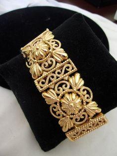 Crown Trifari Etruscan Revival Gold Plate Filigree Vintage Bracelet by AnnesGlitterBug on Etsy
