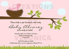 Shower invitations! Help us get the nest ready! She's ready to hatch!